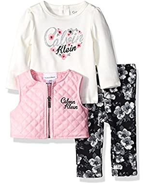 Baby Girls' Quilted Vest with Tee and Pants Set