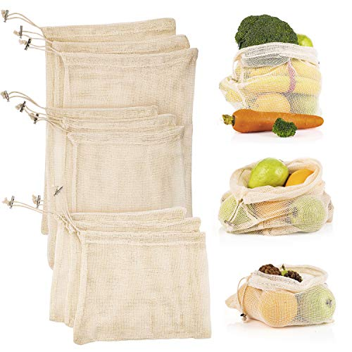 (Reusable Produce Mesh Bags, Natural Cotton Eco-Friendly Net Bags with Double-Stitched Seams for Grocery Shopping Storage of Fruit Vegetable Garden Produce Set of 9 (3 Small - 3 Medium -)
