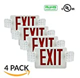 Ainfox 4 Pack LED Exit Sign Emergency Wall Light with Back -up Letter Cover ¡­