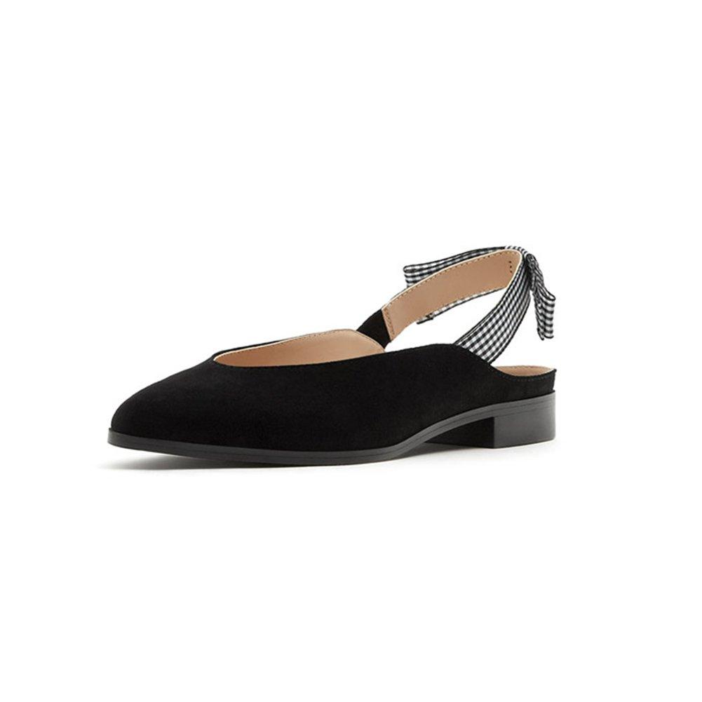 WYYY Chaussures pour Femmes Saison D'été Bloc à Faible Talon Rétro Plaid Sangles De Cheville Couleur Pure Pointu Talons Bas Chaussures Décontractées Party Sandals Plage (Taille   EU37 UK4.5-5)