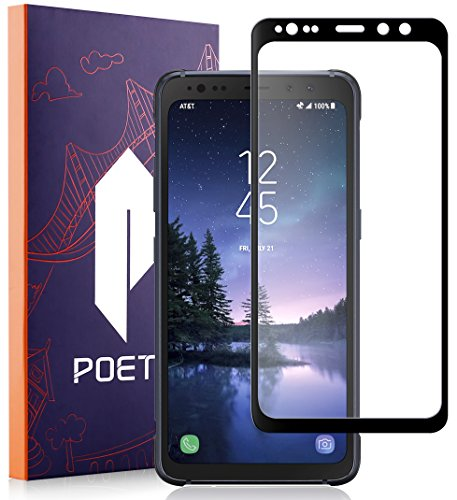 Galaxy S8 Active Screen Protector, Poetic [Full Coverage][HD Clear][Case Friendly][Anti-Fingerprint] Premium Edge-to-Edge Tempered Glass Screen Protector for Samsung Galaxy S8 Active (Black)