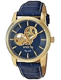 Invicta Men's 'Objet d'Art' Automatic Stainless Steel and Leather Casual Watch, Color:Blue (Model: 22617)