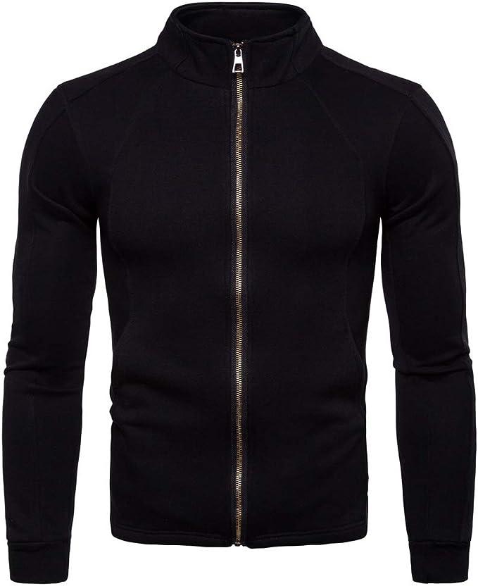 AOWOFS Men's Casual Lightweight Cotton Jacket Stand Collar Sports Slim Fit Zipper Sweatshirt