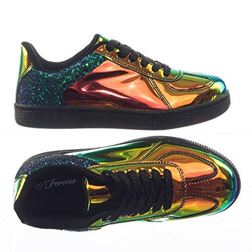 Evigt Länkar Glitter Metallic Holografiska Irresdescent Snörning Sneaker W Gummisula Guld Grön Holografisk