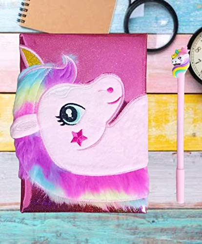1 Pc Cute Unicorn Glitter Glow Furr Handmade Handicraft Diary Notebook A5 Size (Pages 100, Size: 21x15x2.5 cm) with Unicorn Pen (B083KPR6Q1) Amazon Price History, Amazon Price Tracker