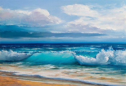 CSFOTO 7x5ft Background for Seascape Oil Painting Sea Beach Photography Backdrop Ocean Waving Sand Seaview Coast Summer Holiday Leisure Vacation Travel Tourism Photo Studio Props Polyester Wallpaper