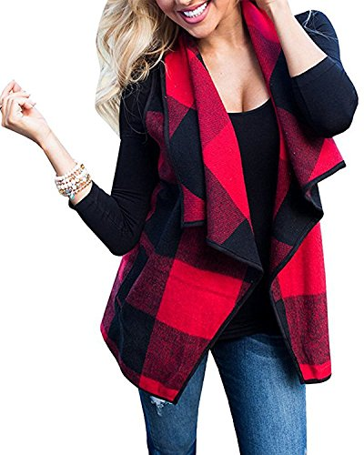 Chicgal Womens Lapel Open Front Sleeveless Plaid Vest Cardigan With Pockets (Red (Cotton Plaid Vest)
