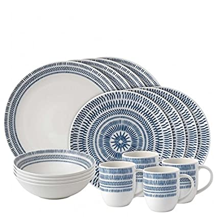 ED Ellen DeGeneres Beautifully Crafted by Royal Doulton Dark Blue Chevron 16-Piece Durable  sc 1 st  Amazon.com & Amazon.com | ED Ellen DeGeneres Beautifully Crafted by Royal Doulton ...