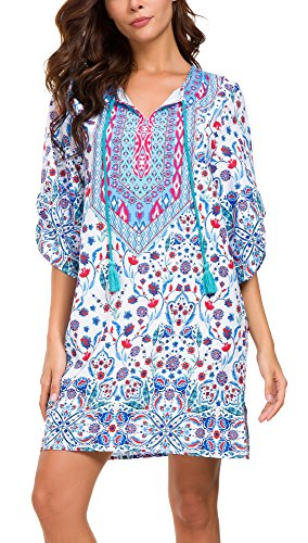 Women's Bohemian Short Dress Elegant Exotic Summer Dress V-Neck Floral Printed (L, 7)