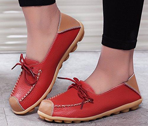 Louechy Womens Teland Läder Loafers Slip-on Platta Skor Tillfällig Körning Skor Röd