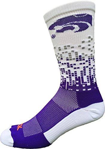 TCK Sports Kansas State Wildcats Downtown Crew Socks (Purple/White/Graphite, Medium) -