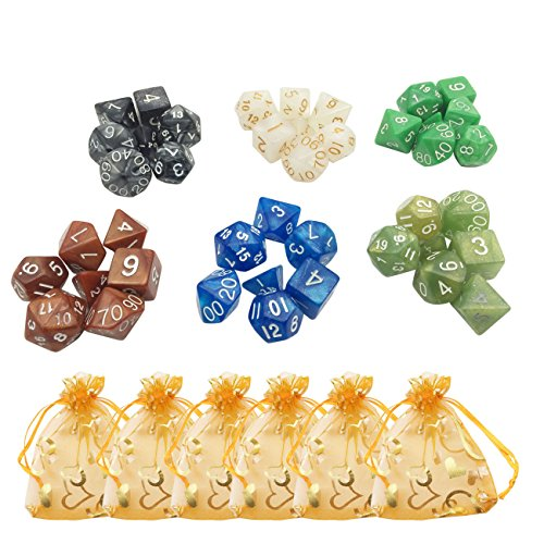6 Colors x 7  Polyhedral Dice for Dungeons Dragons DND MTG