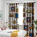 Grommet Curtains Suitable for Bedroom Kitchen and Living Room 90s,90s Theme with Old Style Recorder Stereo Television Roller Skate Shoes Electronic Watch Mustard