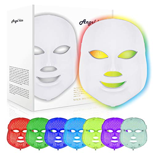 Led Face Mask - Angel Kiss 7 Color Photon Blue Red Light Therapy Skin Rejuvenation Facial Skin Care Mask ()