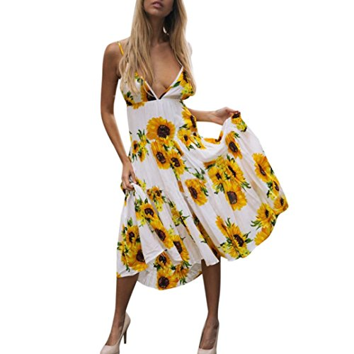 DongDong Big Promotion! Dress Deep V-Neck Sunflower Print Sexy Sleeveless Dress Princess Dress