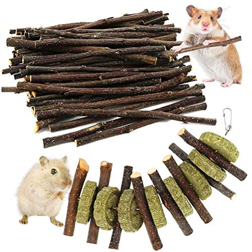 (ZALALOVA Apple Sticks Pet Chew Toys, 200g Organic Apple Sticks Wood Tree Branches with 1Pcs Pet Snacks Chew Toys Grass Cake Guinea Pigs Hamster Chinchilla Squirrel Rabbits Small Animals)