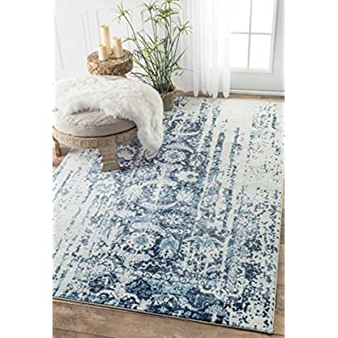 Traditional Muted Flourish Blue Area Rugs, 4 Feet by 6 Feet (4' x 6')