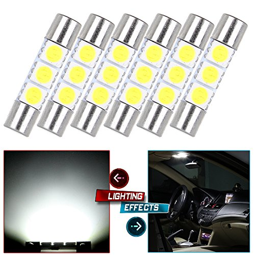 cciyu 6x White LED 28mm-31mm 5050 3SMD Fuse Vanity Mirror Light Bulb Replacement fit for 3056 3057 TS-14V1CP 6000k 28mm 29mm 30mm 31mm/ Replacement fit for Car Interior Sun Visor (Best Ts Mirrors)