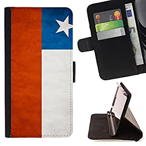 KingStore / Leather Etui en cuir / HTC One M7 / Nacional bandera de la nación País Chile
