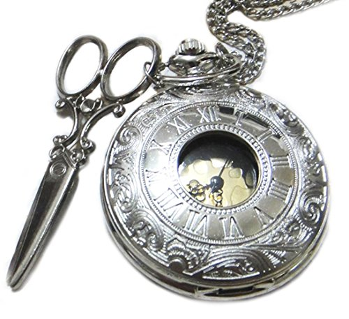 - Alice in Wonderland Pocketwatch Necklace - Vintage Style Scissor Pendant - Steampunk Golden Antiqued Silver Charm Pocket Watch