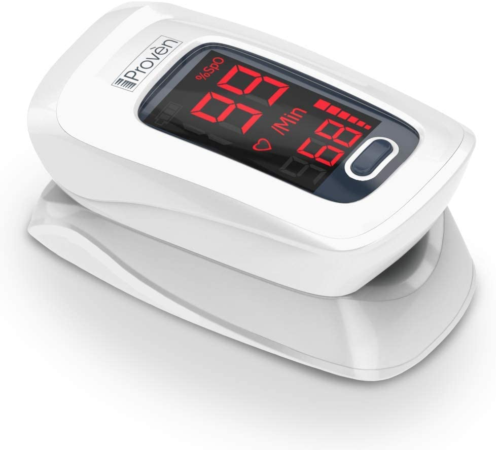 New Version iProven Pulse Oximeter Fingertip – Oxygen Saturation Monitor – with Heart Rate Detection – incl. Batteries, Case and Lanyard – iProven OXI-27 White