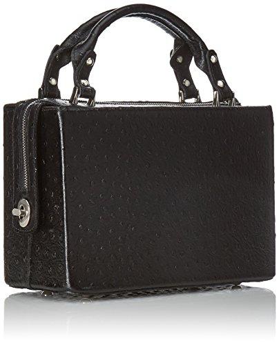 de Nero CTM véritable italien l'autruche la à main femme cuir en L'embrayage 26x18x13 boniment Noir avec Cm UUwSFtq