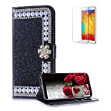 Funyye Pearl Rhinestone Black Leather Case for Samsung Galaxy A6 Plus 2018,Stylish 3D Diamond Buckle Flip Snap Wallet Case with Stand Credit Card Holder Slots for Samsung Galaxy A6 Plus 2018,Anti Scratch Full Body Soft Silicone PU Leather Case for Samsung Galaxy A6 Plus 2018 + 1 x Free Screen Protector
