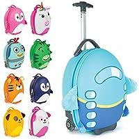 Boppi Tiny Trekker Kids Luggage Travel Suitcase Carry On Cabin Bag Holiday Pull Along Trolley Lighweight Wheeled Holdall 17 Litre Hand Case - Aeroplane