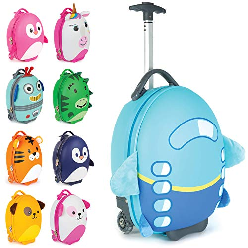 (Boppi Tiny Trekker Kids Luggage Travel Suitcase Carry On Cabin Bag Holiday Pull Along Trolley Lighweight Wheeled Holdall 17 Litre Hand Case - Aeroplane)
