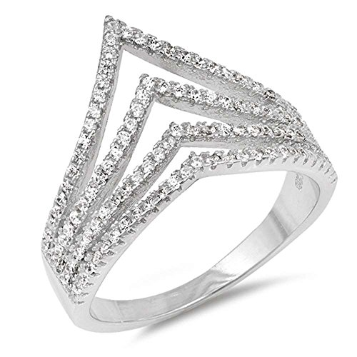 Sterling Silver Multi Band Cubic Zirconia Chevron V Shape Ring Sizes 10