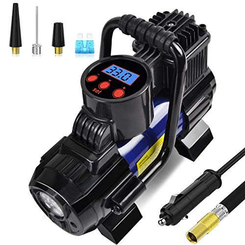 SEBORIO Portable Mini Air Compressor Pump-DC 12V Digital Tire Inflator Tire Pump for Car, 140W 150 PSI