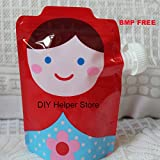Vistaric New 10pcs Food Pouch BMP Free Baby Grade Plastic Reusable Cute Squeeze Packaging Bags with Zip Lock Kids Feeding Free Shipping: Red