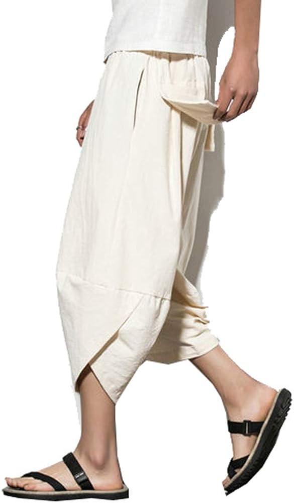 Pantalones de algodón para Hombre Pantalones de algodón de Color Liso y cómodo Pantalón Largo y Ancho de Pantorrilla Pantalón de Calle Holgada: Amazon.es: Ropa y accesorios