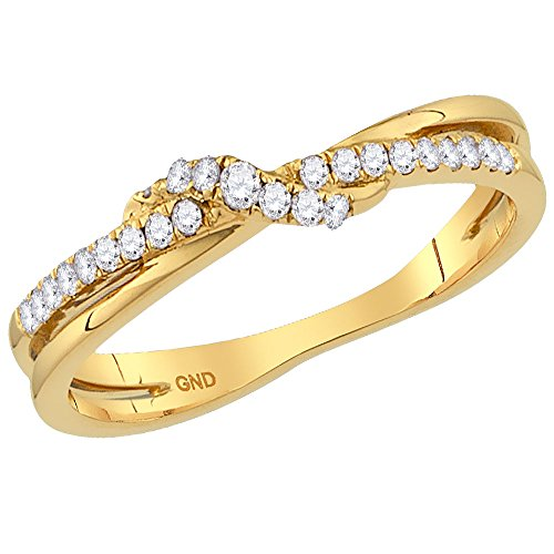 Size 9-14k Yellow Gold Round Diamond cross over Stackable Band Ring 1/6 (9k Gold Pave Diamond)
