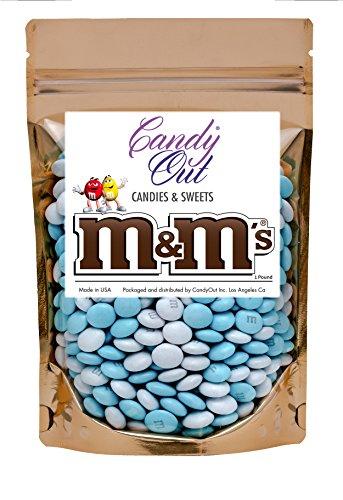 Light Blue and White m&m 1 Pound Milk Chocolate in CandyOut Sealed Stand Up -
