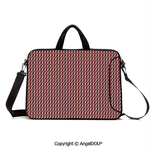 AngelDOU Neoprene Laptop Shoulder Bag Case Sleeve with Handle and Extra Pocket Curvy Wavy Lines Simplistic Pattern on Dark Red Background Vintage Twist Tile Compatible with MacBook/Ultrabook/HP/Acer