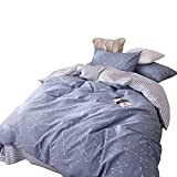 BuLuTu Super Soft Duvet Cover Set Queen Cotton Blue,Space Constellation Print Full Kids Duvet Cover 2 Pillowcases,Lightweight Hotel Quality Bedding Collections,NO COMFORTER