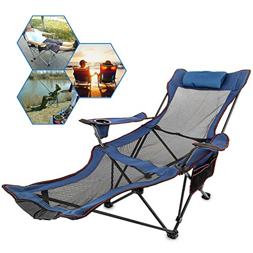 (Happybuy Blue Folding Camp Chair with Footrest Mesh Lounge Chair with Cup Holder and Storage Bag Reclining Folding Camp Chair for Camping Fishing and Other Outdoor Activities (Blue))