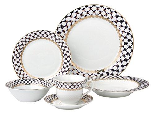 Lorren Home Trends 24 Piece Porcelain Dinnerware Set Tula, B