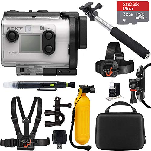 Sony FDR-X3000 4K Wi-Fi GPS Action Camera with Balanced Optical SteadyShot + 32GB Outdoor Adventure Mounting Bundle