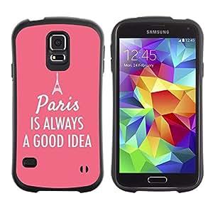 Paccase / Suave TPU GEL Caso Carcasa de Protección Funda para - Paris France Eifel Tower Pink Text - Samsung Galaxy S5 SM-G900