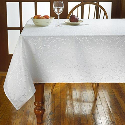 Violet Linen European Stone Stain Resistant Microfiber Damask Tablecloth, 60