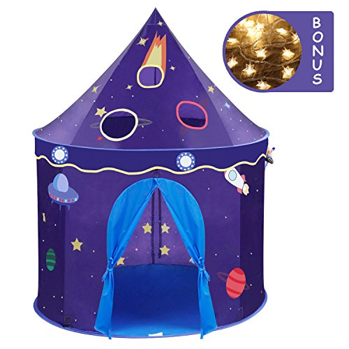 (Wonder Space Children Play Tent - Premium Space Rocket Castle Pop Up Kids Playhouse, Comes with Carrying Case, Best Indoor Outdoor Gift Game Toy for Boys and)