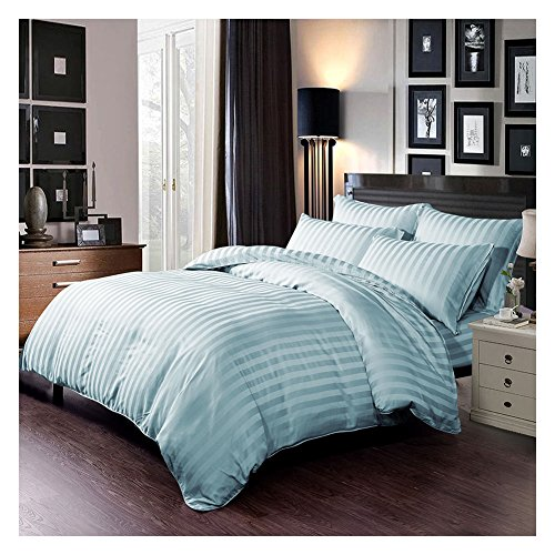 Bedroom Set Bamboo Bedroom (SWEET LINEN 6 PC 300 TC Bamboo Duvet Cover Set-1 Duvet Cover, 1 Fitted Sheet and 4 Pillowcases-Super Silky Soft Rayon - Hypoallergenic and Wrinkle Resistant Bamboo Sheets (Sky Blue, Queen))
