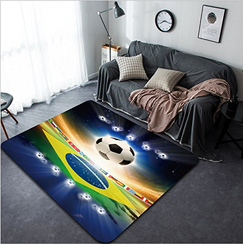 Vanfan Design Home Decorative 164617748 Abstract sports background - soccer ball Brazil flag bright light stars in night sky Modern Non-Slip Doormats Carpet for Living Dining Room Bedroom Hallway Offi by vanfan