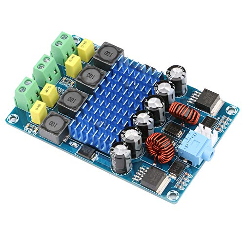 Yeeco Audio Amplifier Board, Dual Channel 50W+50W Digital Power Amplifier Board DC 12-24V 15V 20V Car Audio Stereo AMP Module with Booster Chip and 3.5mm Audio Input for Audio System DIY Speakers