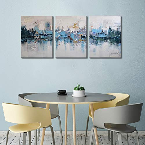 (ARTLAND Modern Framed Abstract Oil Painting Blue Villages 3-Piece Gallery-Wrapped Wall Art on Canvas Ready to Hang for Living Room for Wall Decor Home Decoration 16x36inches)