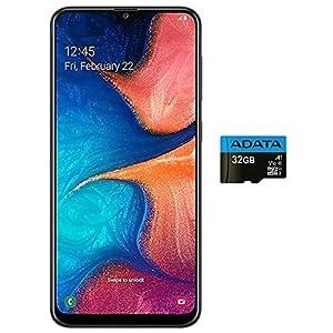 Samsung Galaxy A20 (32GB, 3GB RAM) 6.4″ Super AMOLED, Fast Charge 4000mAh Battery, US & Global 4G LTE GSM Factory Unlocked A205G – International Model (Black, 32GB + 32GB SD Bundle (Single SIM))