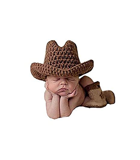 Image Unavailable. Image not available for. Color  Pinbo Baby Boys Photography  Prop Crochet Knitted Cowboy Hat Boots 5435595c8194