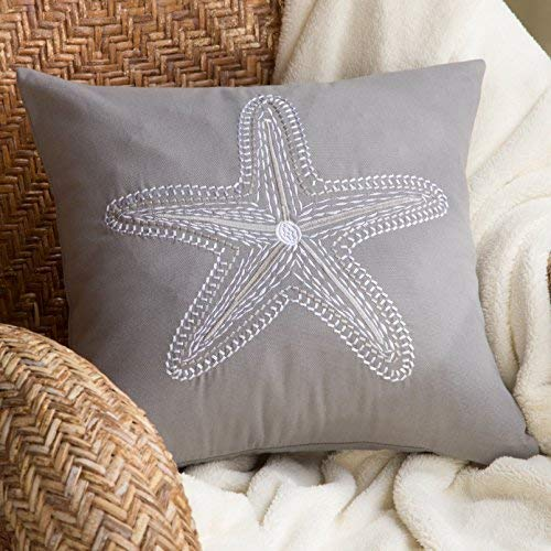North End Decor Grey Starfish Embroidered Decorative 18x18 (Insert Included) Throw Pillows, Stuffed (Starfish Cushion)